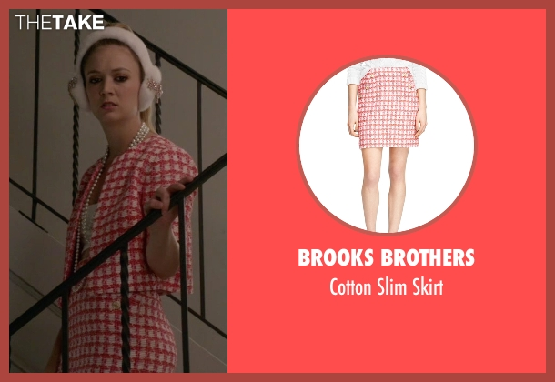 Brooks Brothers red skirt from Scream Queens seen with Chanel #3 (Billie Lourd)