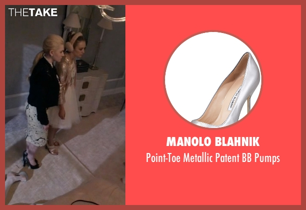 Manolo Blahnik silver pumps from Scream Queens seen with Chanel #3 (Billie Lourd)