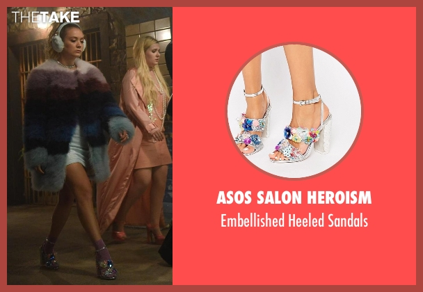 Asos Salon Heroism silver sandals from Scream Queens seen with Chanel #3 (Billie Lourd)
