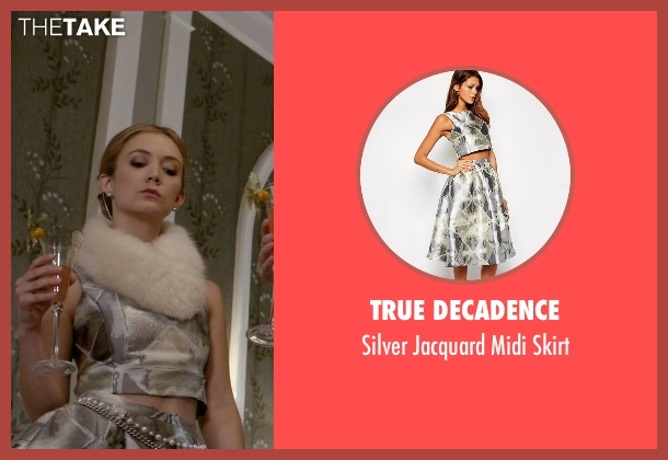 True Decadence silver skirt from Scream Queens seen with Chanel #3 (Billie Lourd)