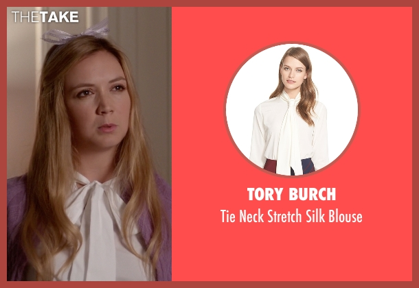 Tory Burch white blouse from Scream Queens seen with Chanel #3 (Billie Lourd)