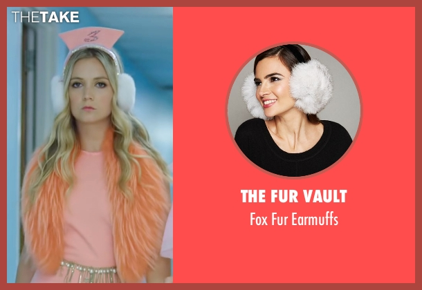 The Fur Vault white earmuffs from Scream Queens seen with Chanel #3 (Billie Lourd)