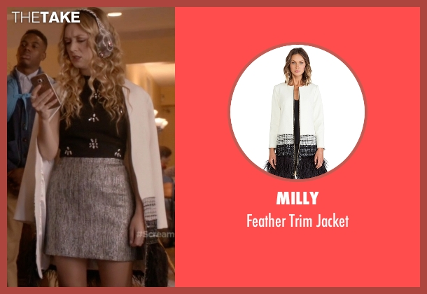Milly white jacket from Scream Queens seen with Chanel #3 (Billie Lourd)