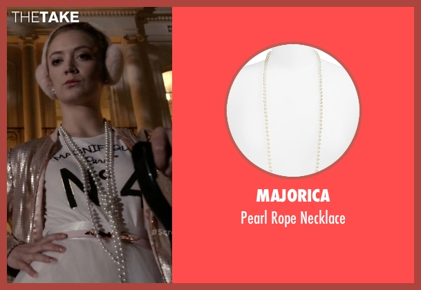 Majorica white necklace from Scream Queens seen with Chanel #3 (Billie Lourd)