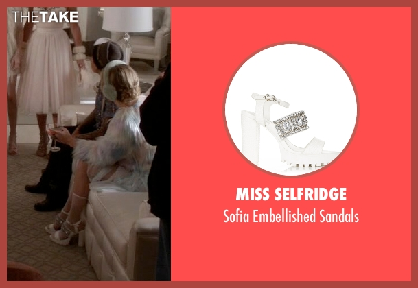 Miss Selfridge white sandals from Scream Queens seen with Chanel #3 (Billie Lourd)