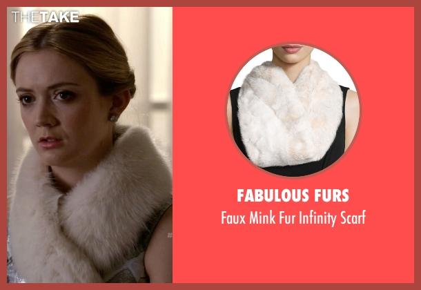 Fabulous Furs white scarf from Scream Queens seen with Chanel #3 (Billie Lourd)