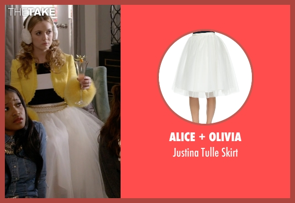 Alice + Olivia white skirt from Scream Queens seen with Chanel #3 (Billie Lourd)