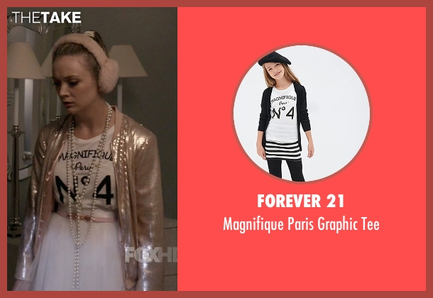 Forever 21 white tee from Scream Queens seen with Chanel #3 (Billie Lourd)