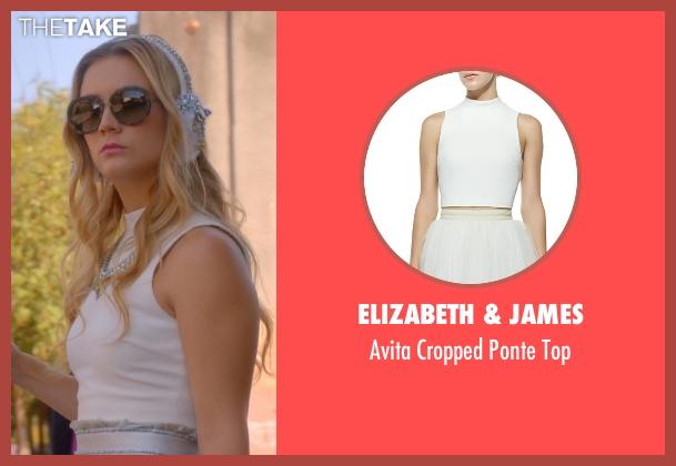 Elizabeth & James white top from Scream Queens seen with Chanel #3 (Billie Lourd)