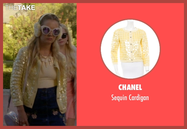 Chanel yellow cardigan from Scream Queens seen with Chanel #3 (Billie Lourd)