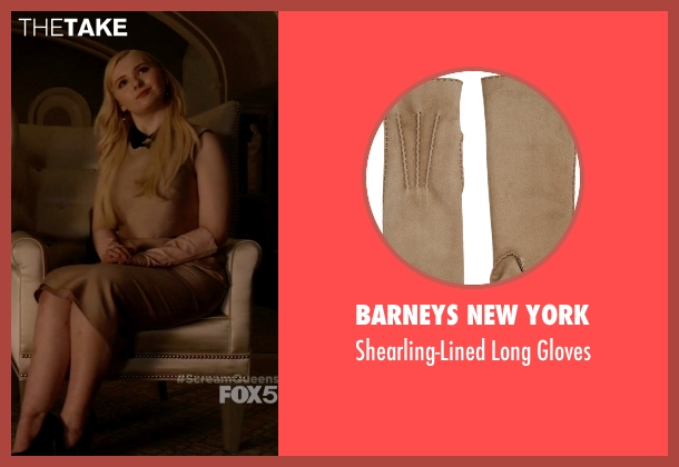 Barneys New York beige gloves from Scream Queens seen with Chanel #5 (Abigail Breslin)