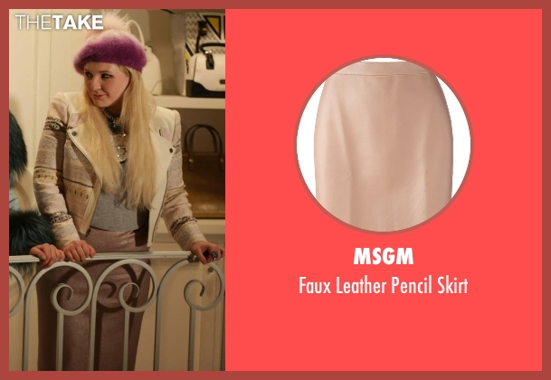 MSGM beige skirt from Scream Queens seen with Chanel #5 (Abigail Breslin)