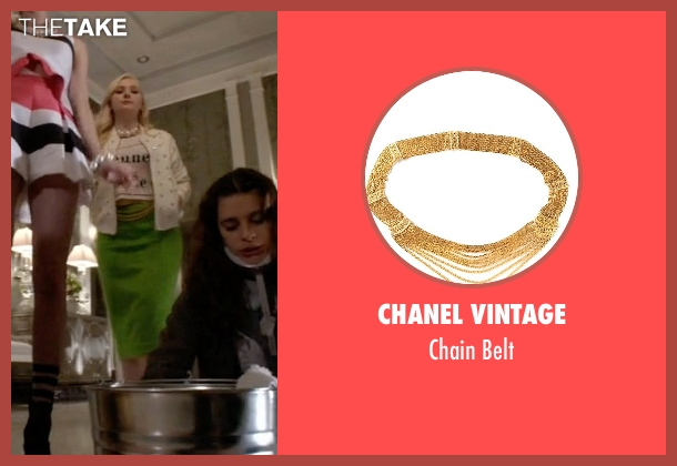 Chanel Vintage gold belt from Scream Queens seen with Chanel #5 (Abigail Breslin)