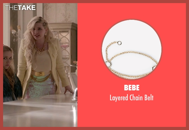 Bebe gold belt from Scream Queens seen with Chanel #5 (Abigail Breslin)