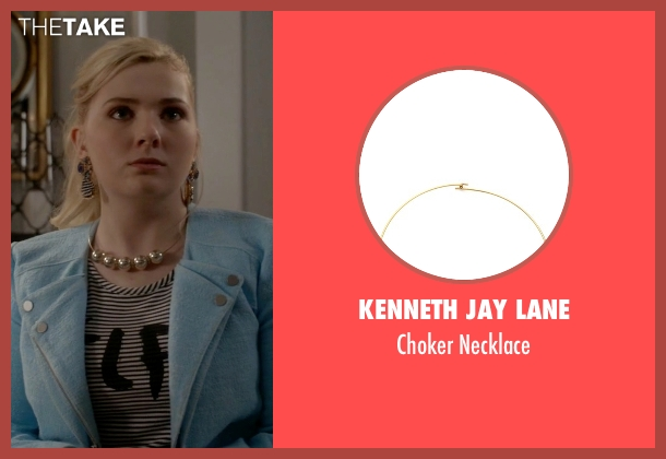 Kenneth Jay Lane gold necklace from Scream Queens seen with Chanel #5 (Abigail Breslin)