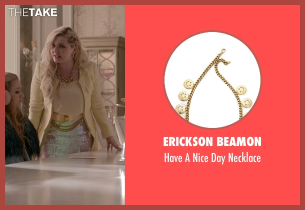 Erickson Beamon gold necklace from Scream Queens seen with Chanel #5 (Abigail Breslin)