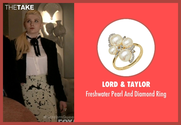 Lord & Taylor gold ring from Scream Queens seen with Chanel #5 (Abigail Breslin)