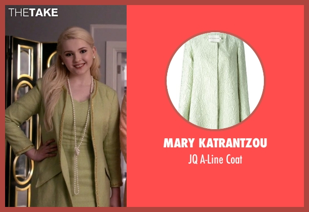 Mary Katrantzou green coat from Scream Queens seen with Chanel #5 (Abigail Breslin)