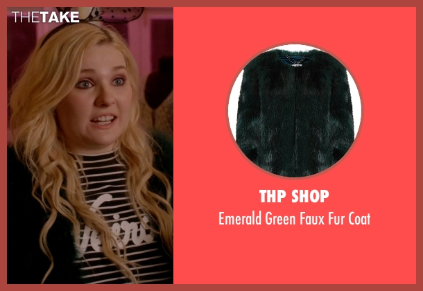 THP Shop green coat from Scream Queens seen with Chanel #5 (Abigail Breslin)