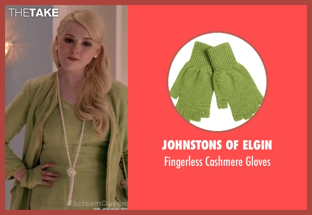 Johnstons of Elgin green gloves from Scream Queens seen with Chanel #5 (Abigail Breslin)