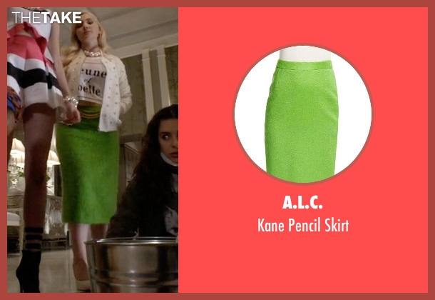 A.L.C. green skirt from Scream Queens seen with Chanel #5 (Abigail Breslin)
