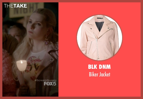 Blk Dnm pink jacket from Scream Queens seen with Chanel #5 (Abigail Breslin)