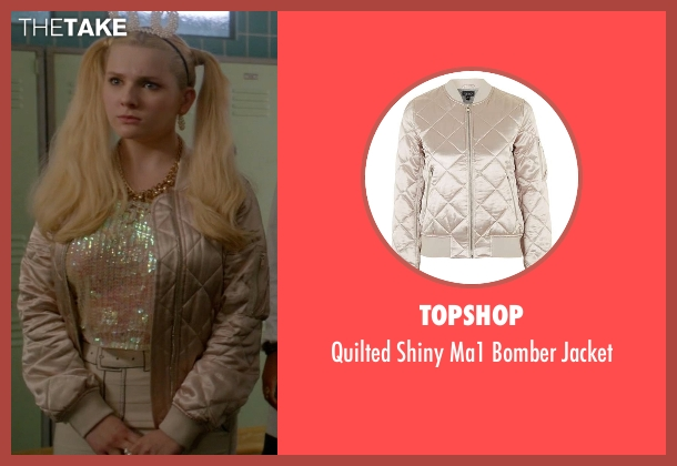 Topshop pink jacket from Scream Queens seen with Chanel #5 (Abigail Breslin)
