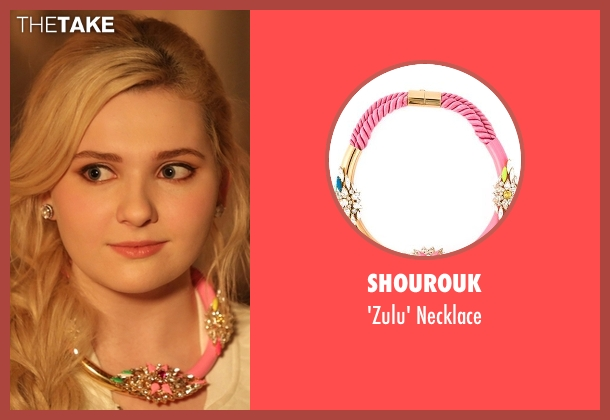 Shourouk pink necklace from Scream Queens seen with Chanel #5 (Abigail Breslin)