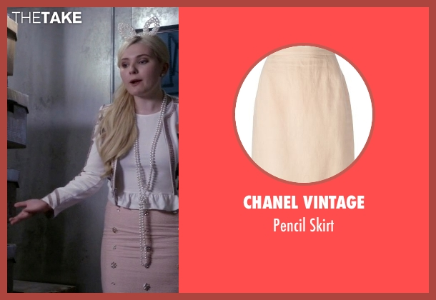 Chanel Vintage pink skirt from Scream Queens seen with Chanel #5 (Abigail Breslin)