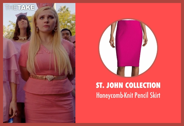 St. John Collection pink skirt from Scream Queens seen with Chanel #5 (Abigail Breslin)