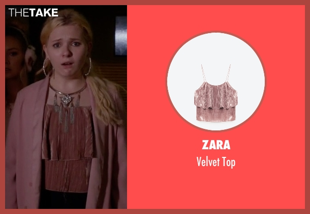Zara pink top from Scream Queens seen with Chanel #5 (Abigail Breslin)