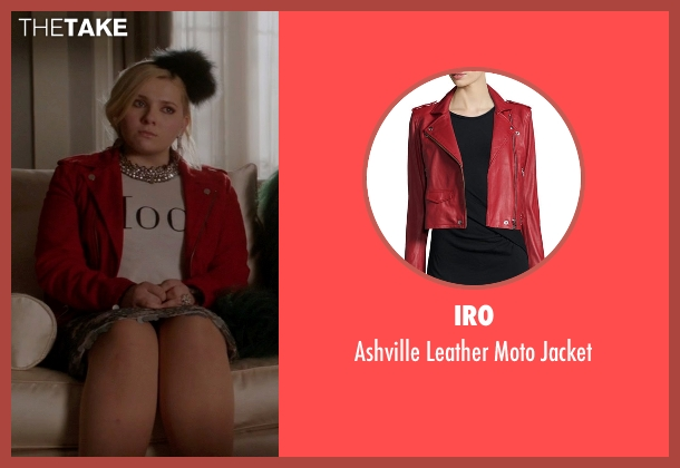 IRO red jacket from Scream Queens seen with Chanel #5 (Abigail Breslin)