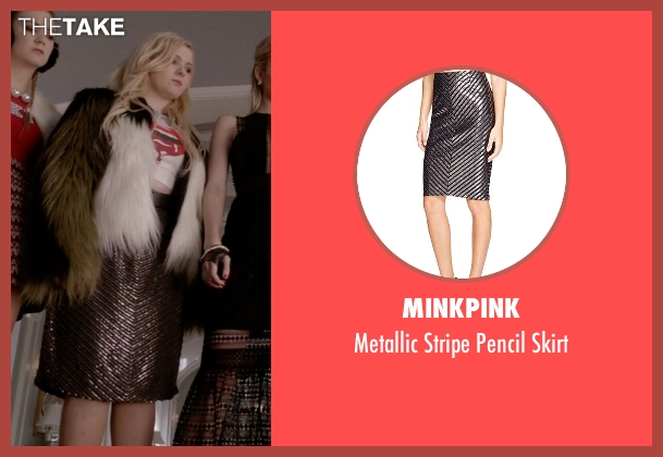 Minkpink silver skirt from Scream Queens seen with Chanel #5 (Abigail Breslin)