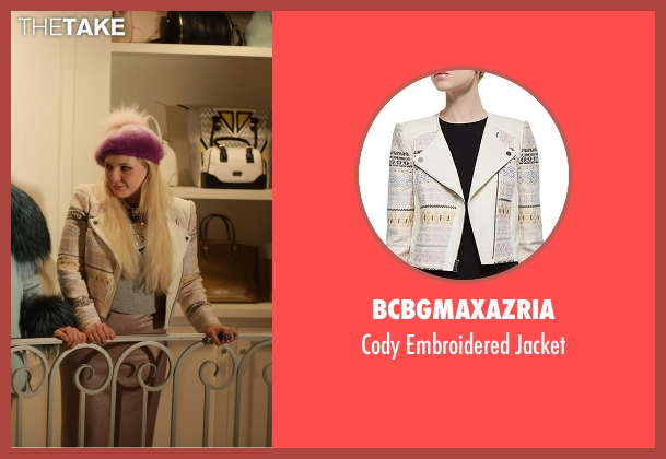 BCBGMAXAZRIA white jacket from Scream Queens seen with Chanel #5 (Abigail Breslin)