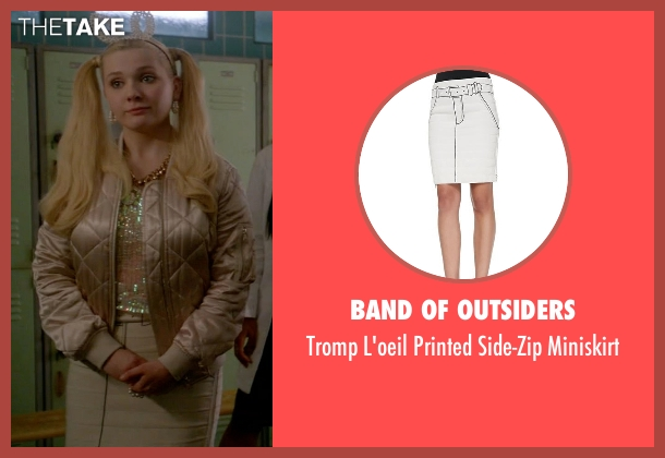 Band of Outsiders white miniskirt from Scream Queens seen with Chanel #5 (Abigail Breslin)