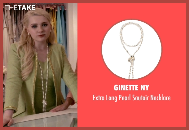 Ginette NY white necklace from Scream Queens seen with Chanel #5 (Abigail Breslin)