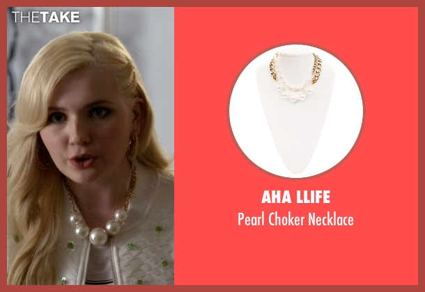 Aha Llife white necklace from Scream Queens seen with Chanel #5 (Abigail Breslin)