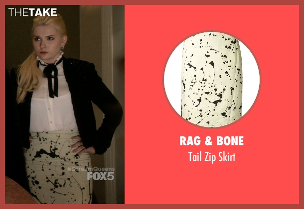 Rag & Bone white skirt from Scream Queens seen with Chanel #5 (Abigail Breslin)