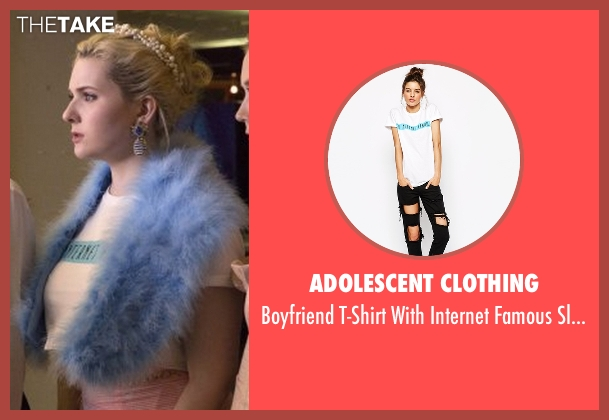 Adolescent Clothing white slogan from Scream Queens seen with Chanel #5 (Abigail Breslin)