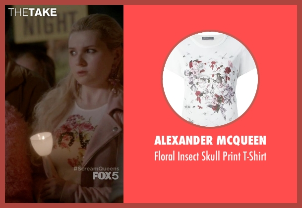 Alexander McQueen white t-shirt from Scream Queens seen with Chanel #5 (Abigail Breslin)