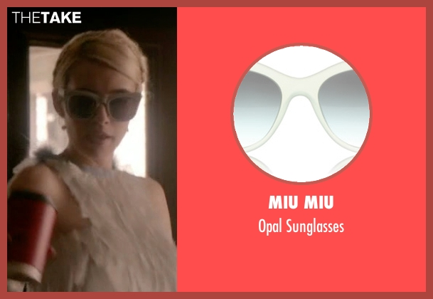 Miu Miu white sunglasses from Scream Queens seen with Chanel Oberlin