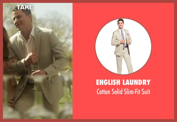 English Laundry beige suit from Side Effects seen with Channing Tatum (Martin Taylor)