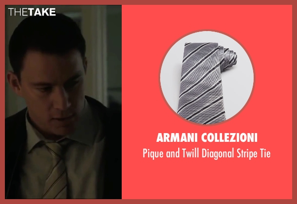 Armani Collezioni silver tie from Side Effects seen with Channing Tatum (Martin Taylor)