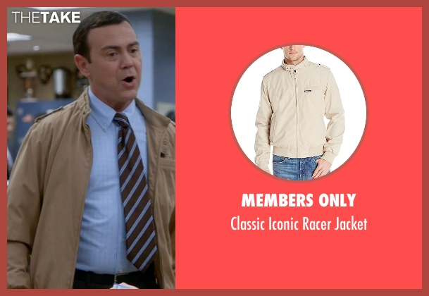 Members Only beige jacket from Brooklyn Nine-Nine seen with Charles Boyle (Joe Lo Truglio)