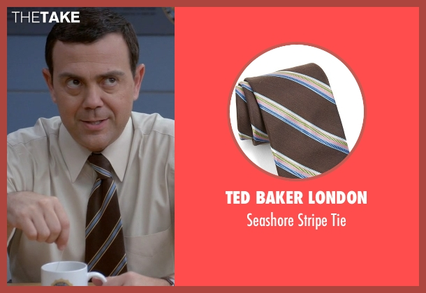 Ted Baker London brown tie from Brooklyn Nine-Nine seen with Charles Boyle (Joe Lo Truglio)