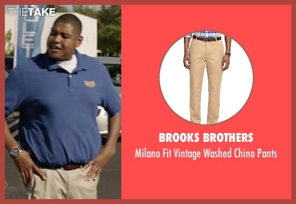 Brooks Brothers beige pants from Ballers seen with Charles Greane (Omar Benson Miller)