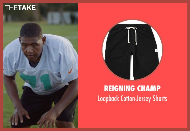 Reigning Champ black shorts from Ballers seen with Charles Greane (Omar Benson Miller)