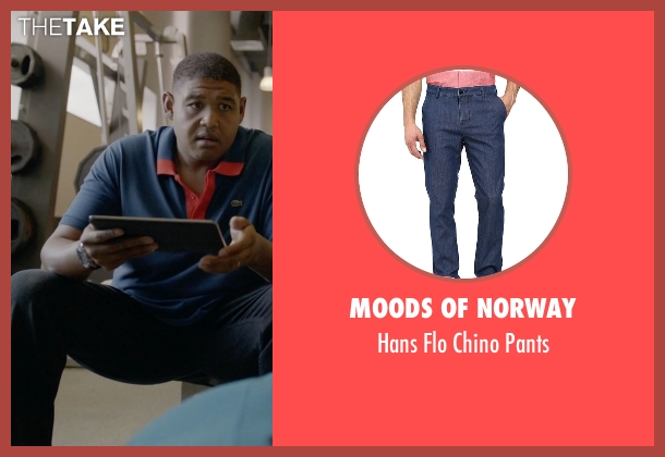 Moods Of Norway blue pants from Ballers seen with Charles Greane (Omar Benson Miller)