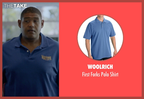 Woolrich blue shirt from Ballers seen with Charles Greane (Omar Benson Miller)