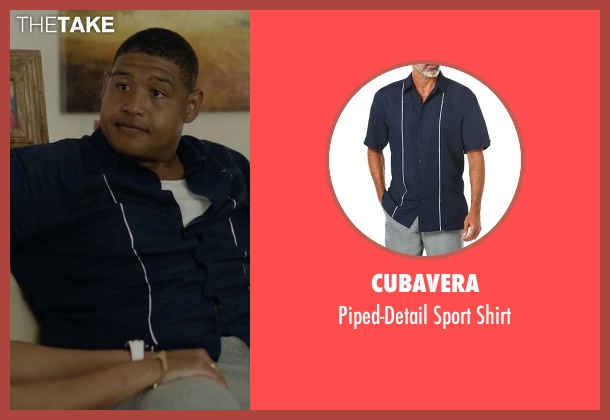Cubavera blue shirt from Ballers seen with Charles Greane (Omar Benson Miller)